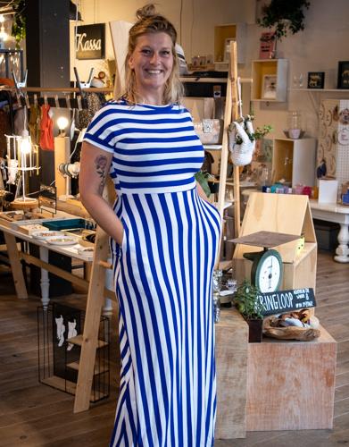 Lange jurk met streep, blauw