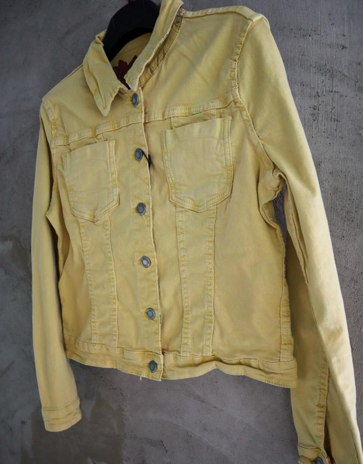 Omkeerbare spijkerjas geel