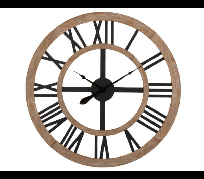 Ronde naturel houten klok