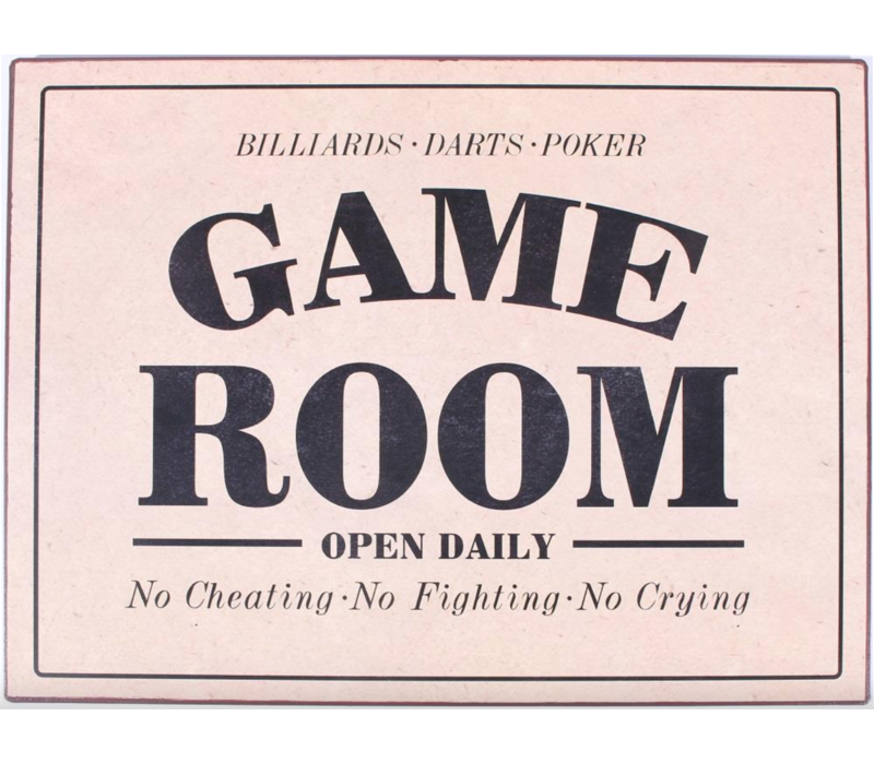 Billiards darts poker Game room open daily no cheating no fighting no crying
