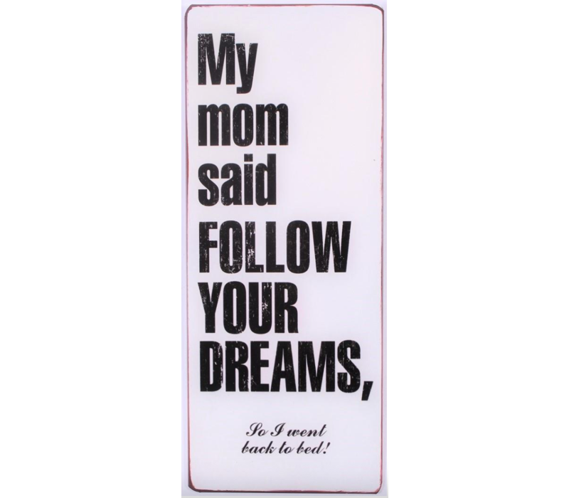 My mom said follow your dreams, so I went back to bed!