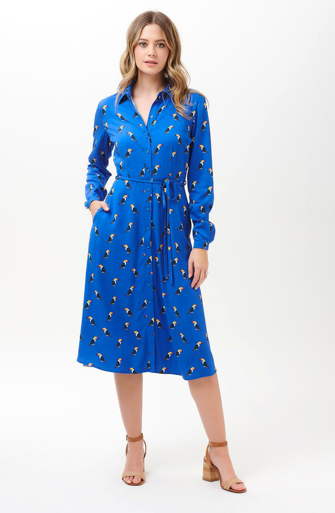 Elspeth midi shirt dress Blue Toucan-1