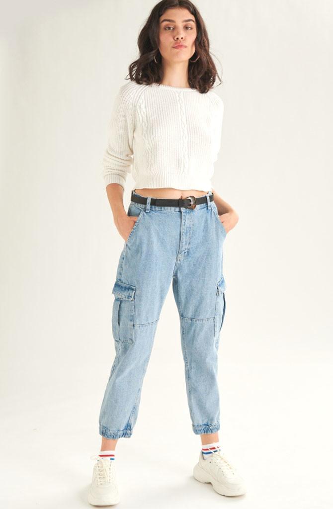 Üde cargo jeans Light Blue-3