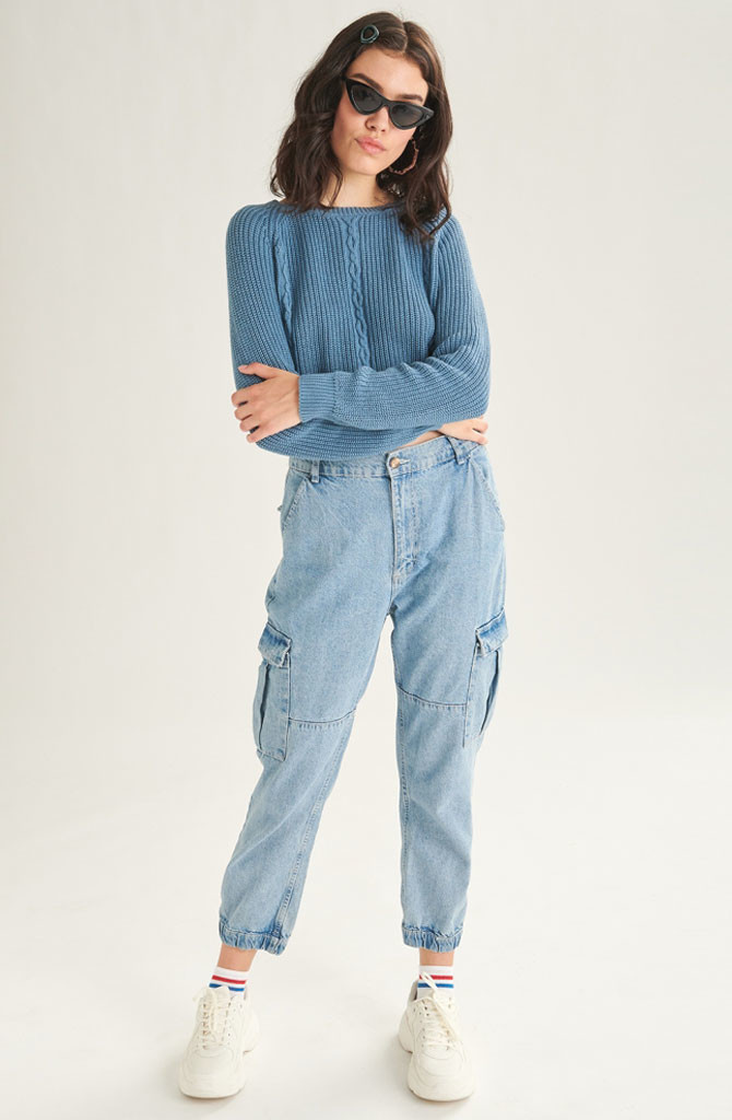 Üde cargo jeans Light Blue-1