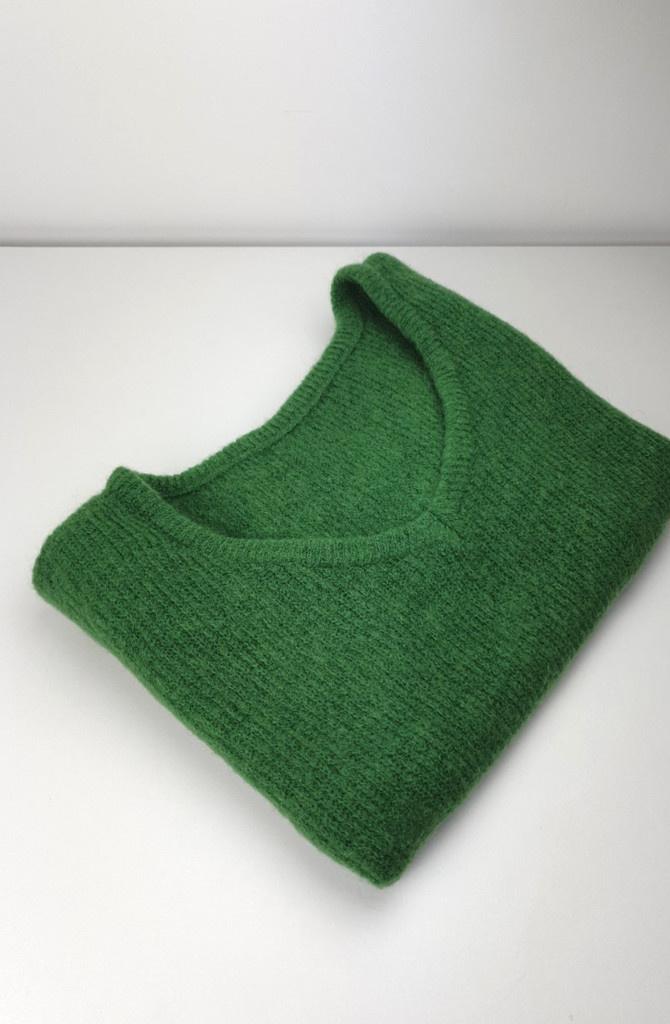 Loren reversible V-neck knit Bottle Green-2