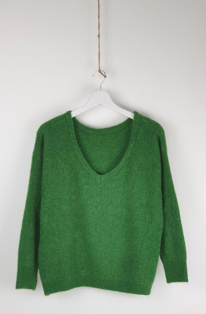 Loren reversible V-neck knit Bottle Green-1