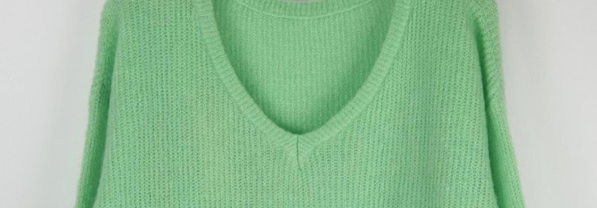 Loren reversible V-neck knit Mint