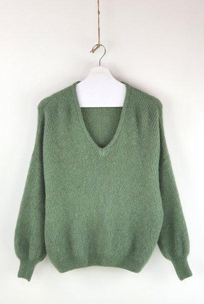 Amelie ballon sleeve V-neck knit Advocado