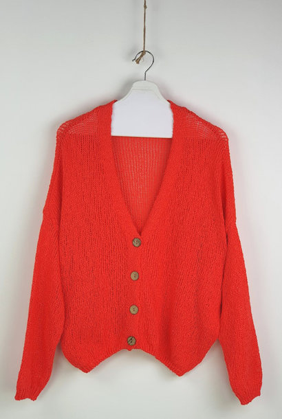 Telva cotton knitted cardigan Orange
