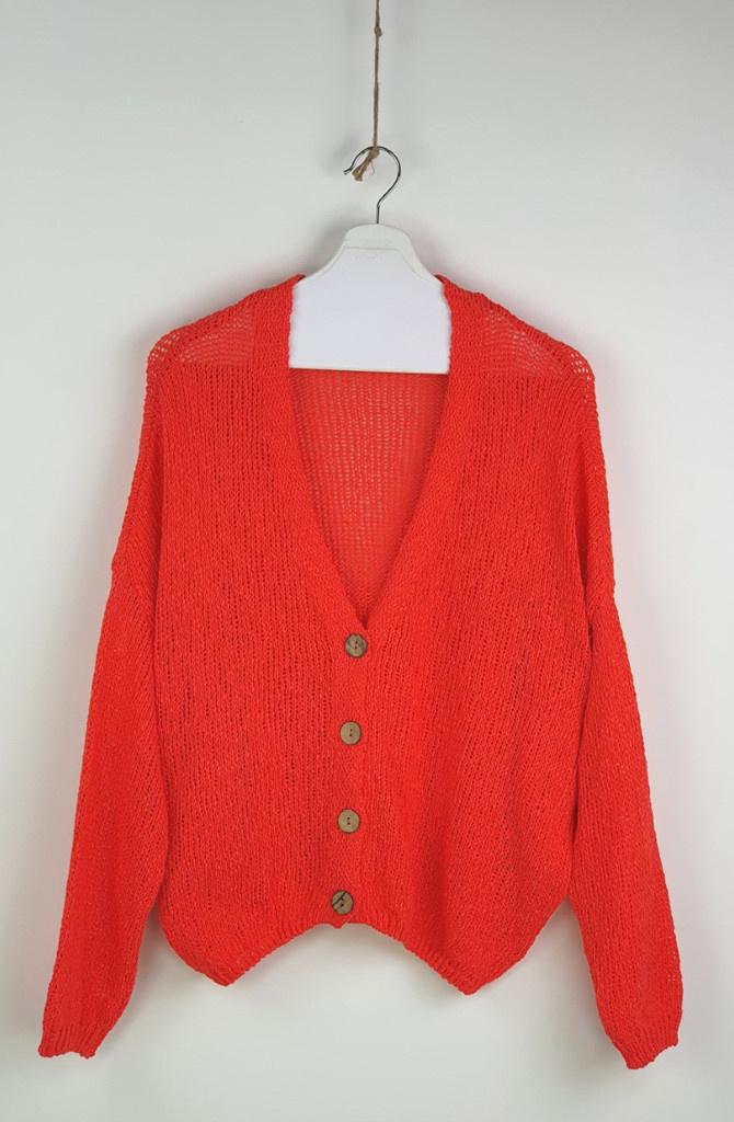 Telva cotton knitted cardigan Orange-1