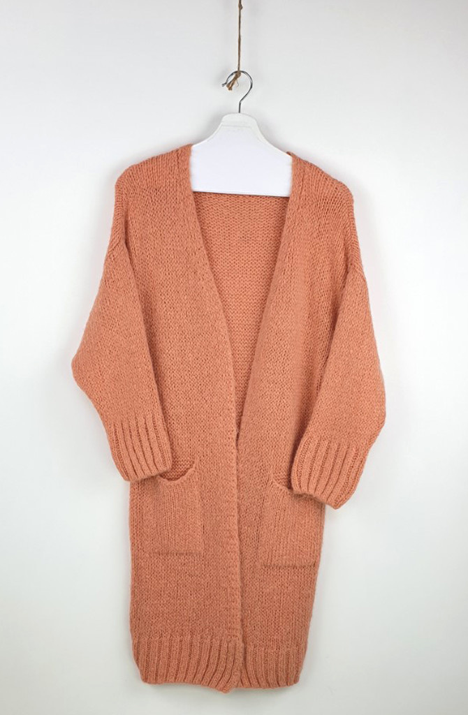 Noreen long cardigan Soft Abrico-1