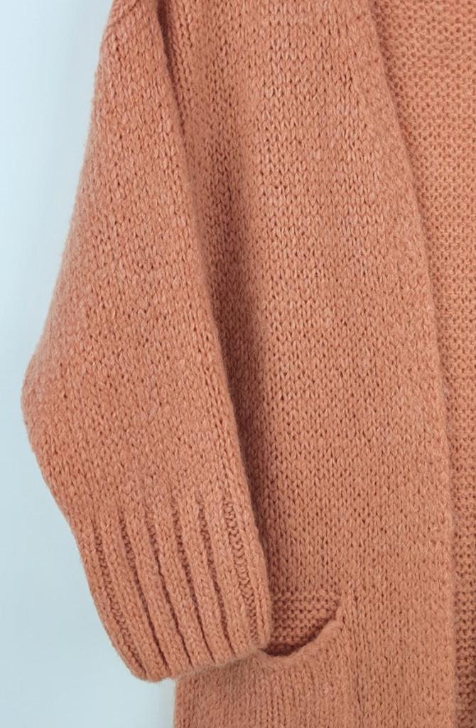 Noreen long cardigan Soft Abrico-2