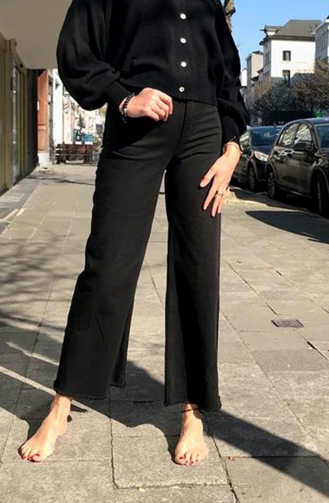 Trosh fringed wide pant Black-1