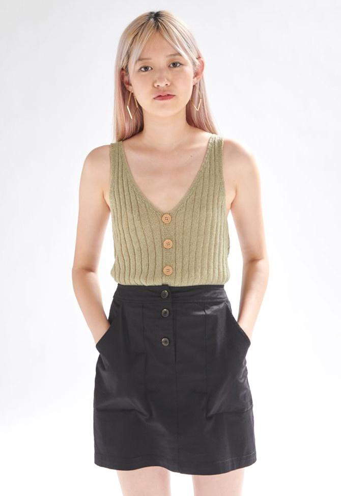 Bryndis knitted top Moss-1