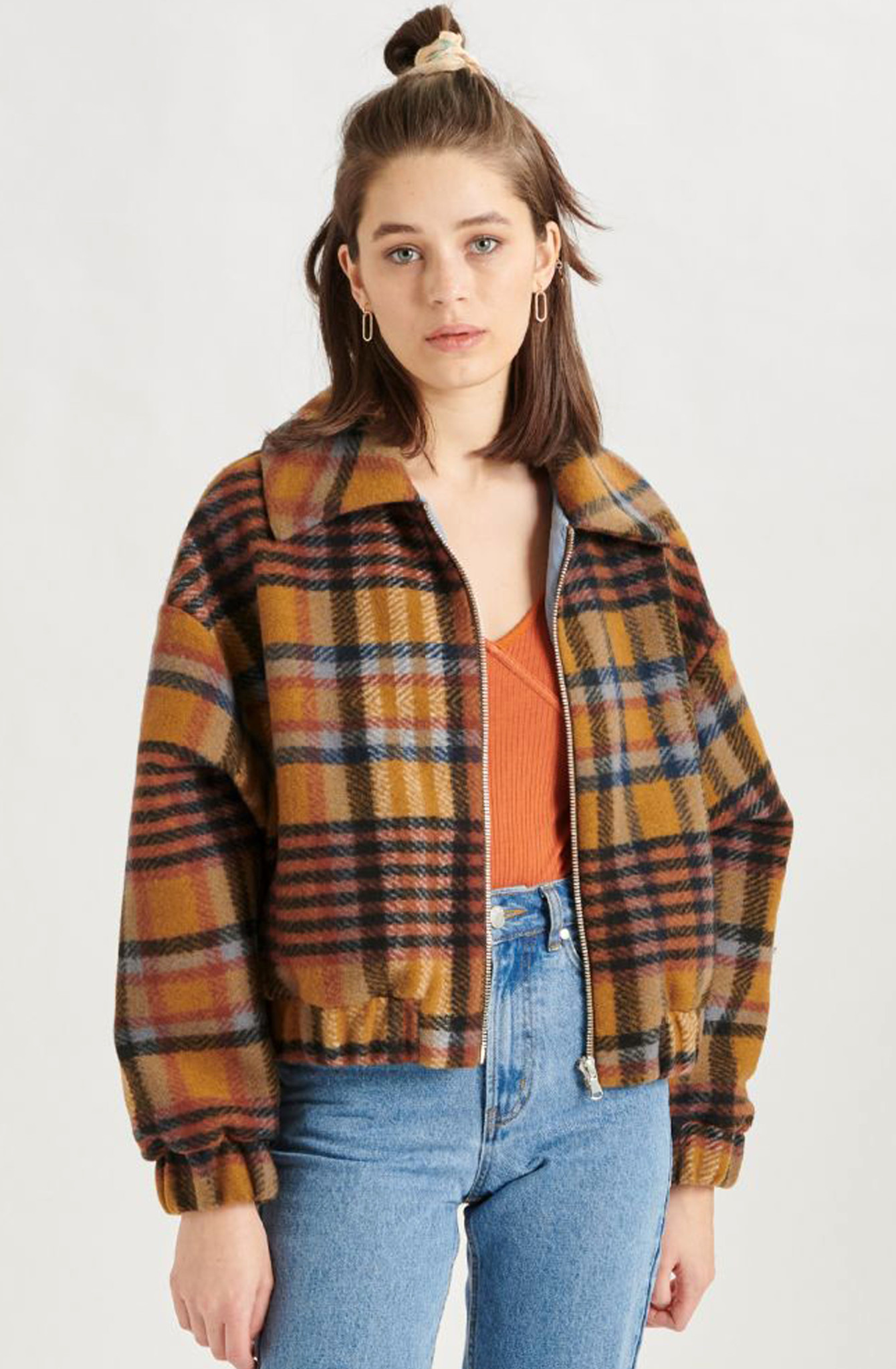 Ashley checkered jacket Brown-2