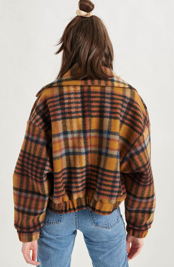 Ashley checkered jacket Brown-3