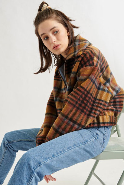 Ashley checkered jacket Brown