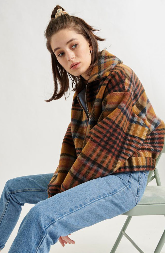Ashley checkered jacket Brown-1