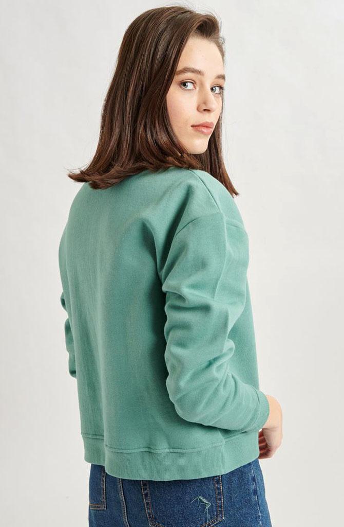 Mexxa collar zipper  sweater Green-3