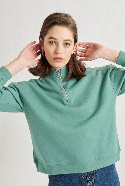 Mexxa collar zipper  sweater Green
