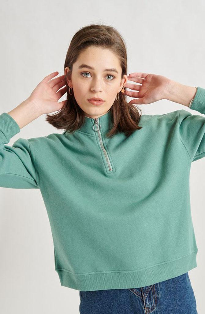 Mexxa collar zipper  sweater Green-1