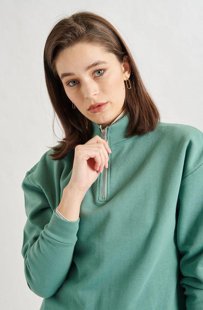 Mexxa collar zipper  sweater Green-2