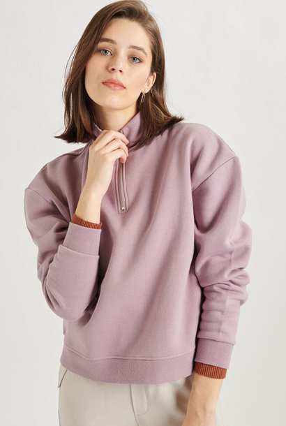 Mexxa collar zipper  sweater Lila