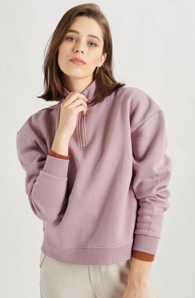 Mexxa collar zipper  sweater Lila-1