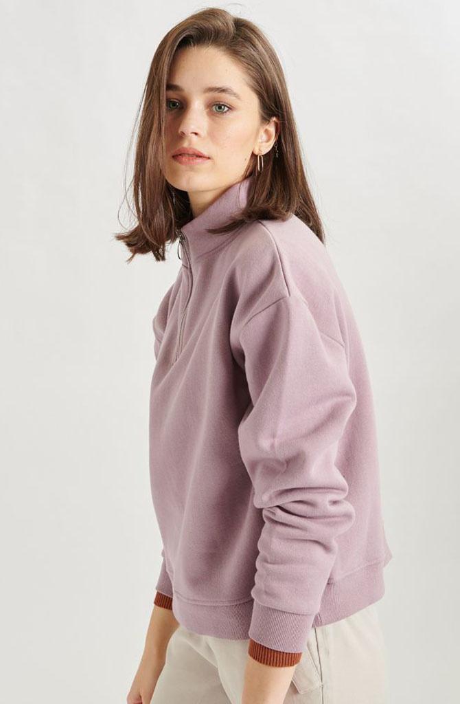 Mexxa collar zipper  sweater Lila-2
