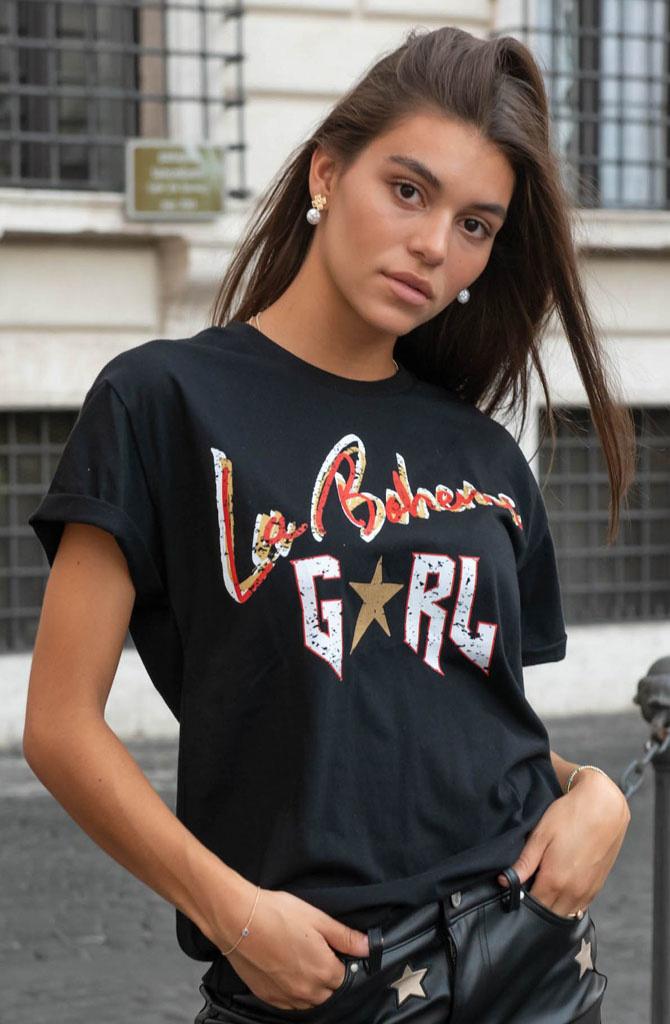 La boheme girl boxy t-shirt Black-1