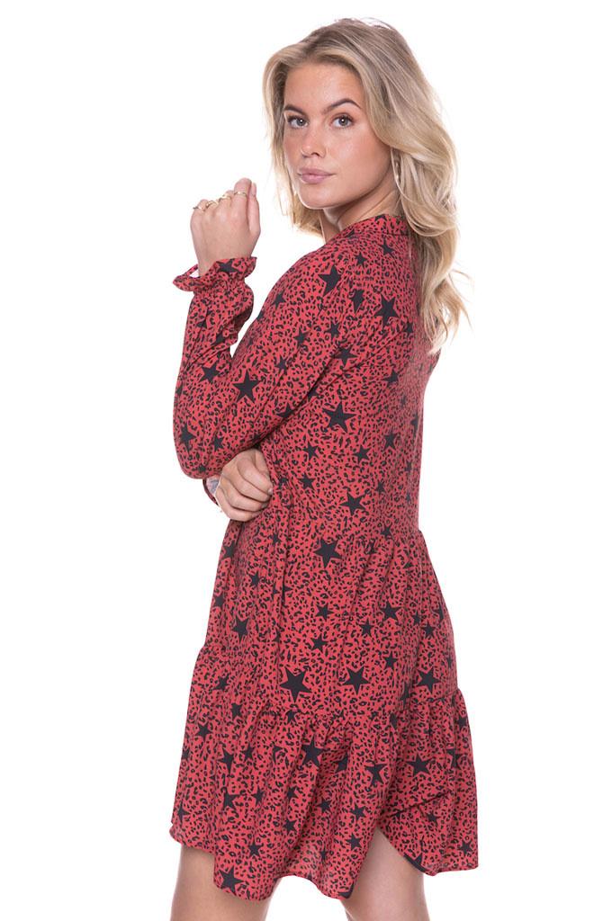 Linsey star leopard mini dress Red-3