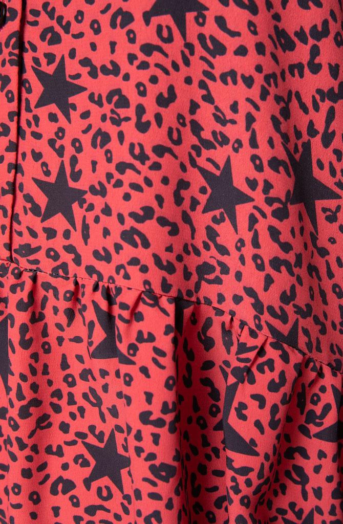 Linsey star leopard mini dress Red-2