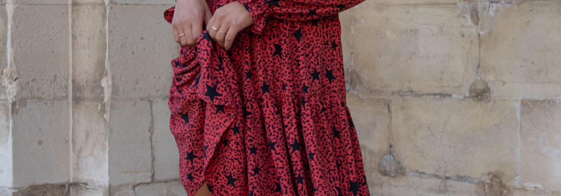 Linsey star leopard mini dress Red