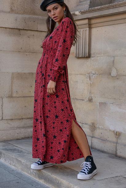 Harper star leopard maxi dress Red