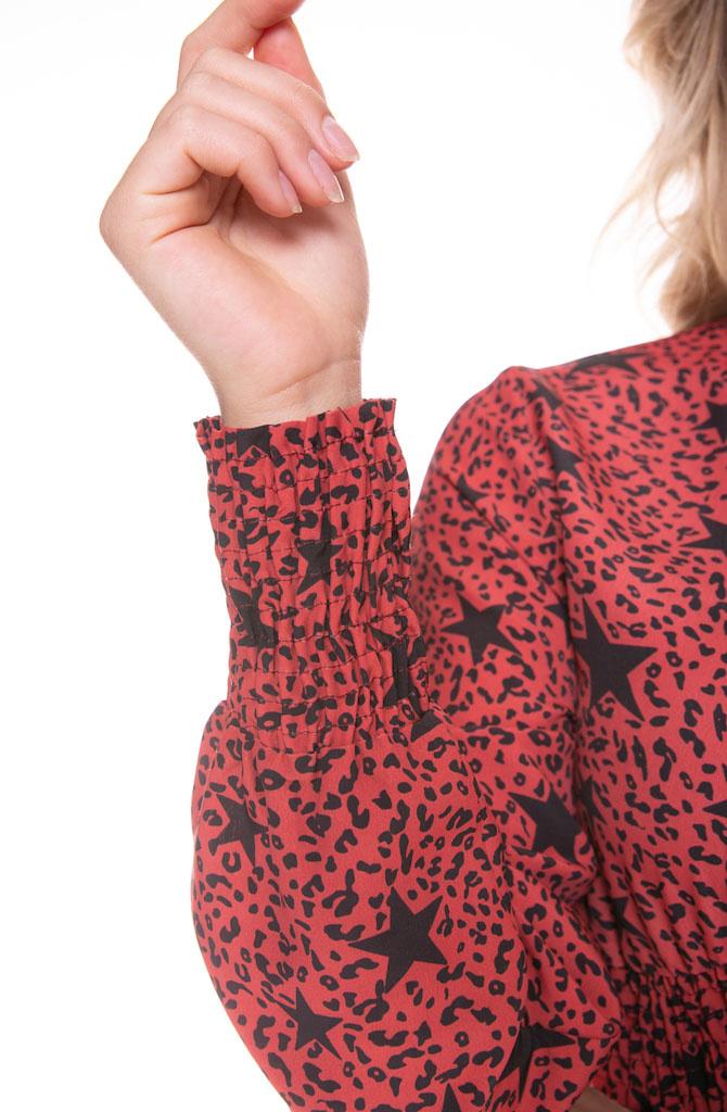 Harper star leopard maxi dress Red-3