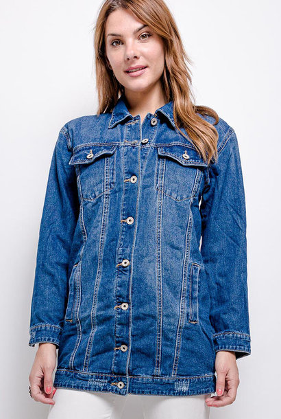Solveig long denim jacket Blue