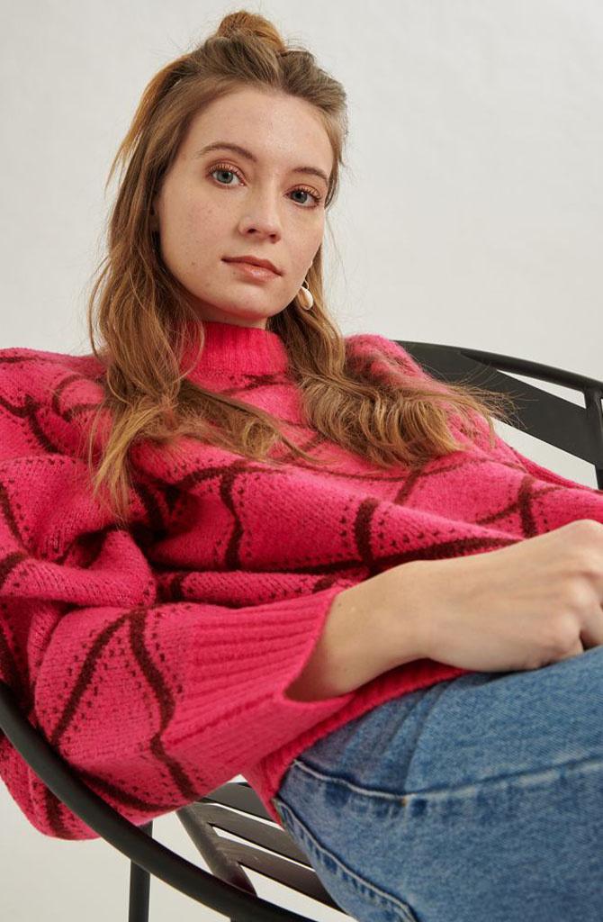 Stepfi oversized knit Fushia-3