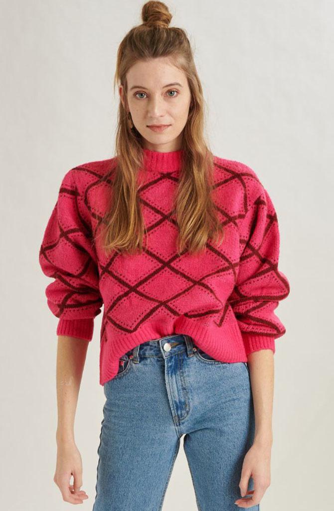 Stepfi oversized knit Fushia-2