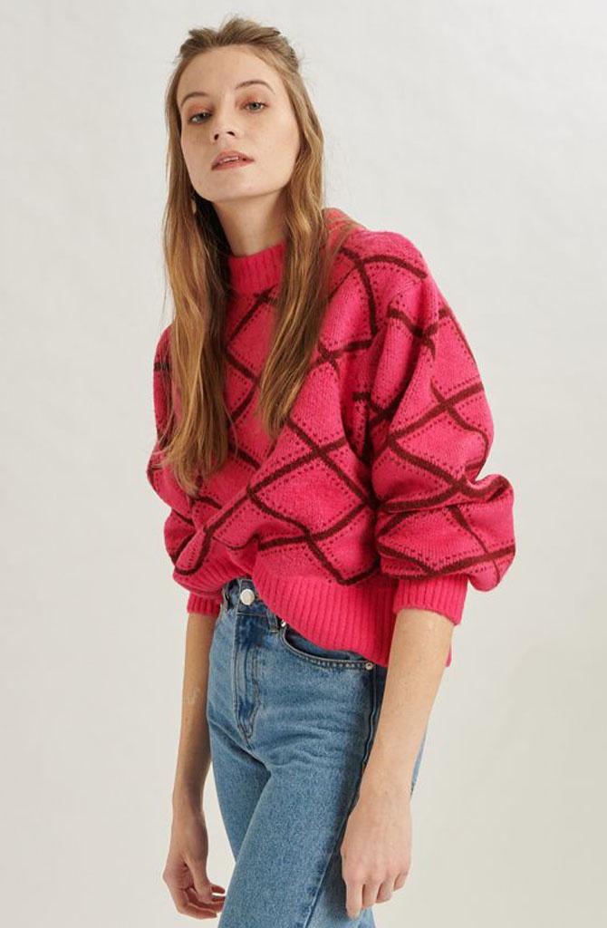 Stepfi oversized knit Fushia-1