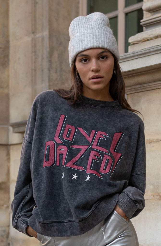 Love Dazed dropped shoulder sweater Acid Grey-2