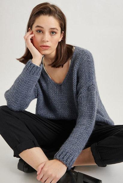 Yakini oversized knitted pull Denim