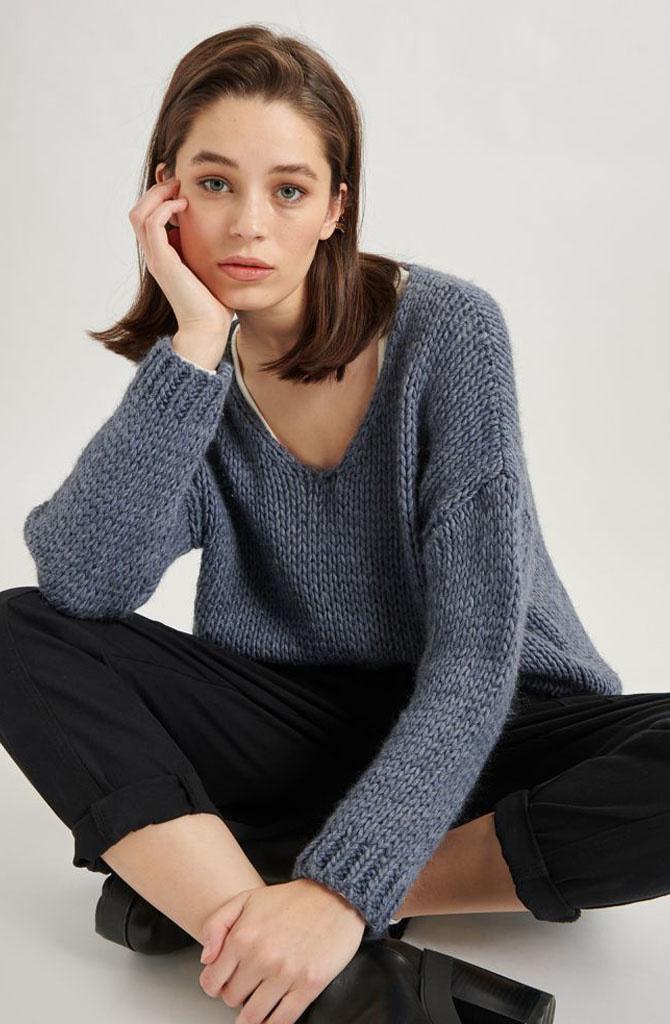 Yakini oversized knitted pull Denim-1