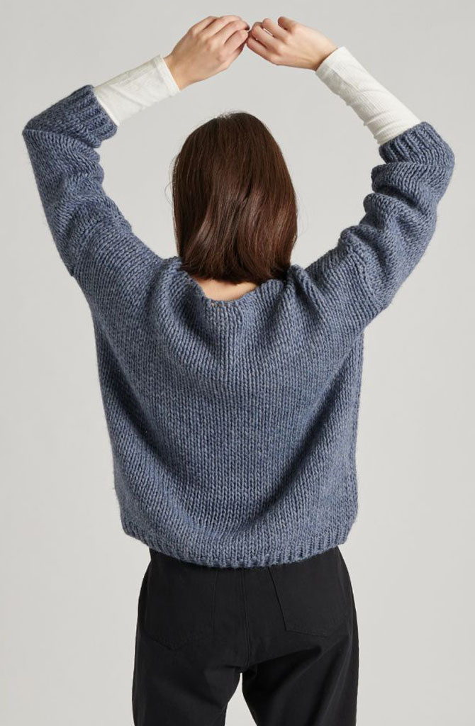 Yakini oversized knitted pull Denim-3