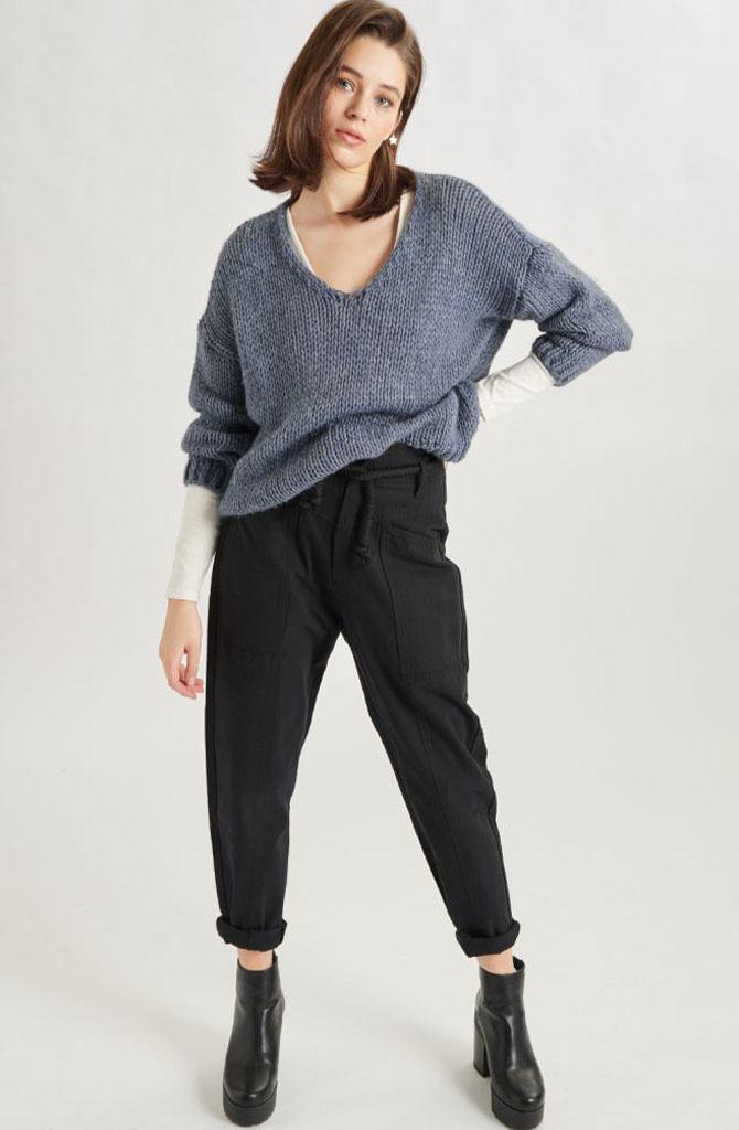 Yakini oversized knitted pull Denim-2