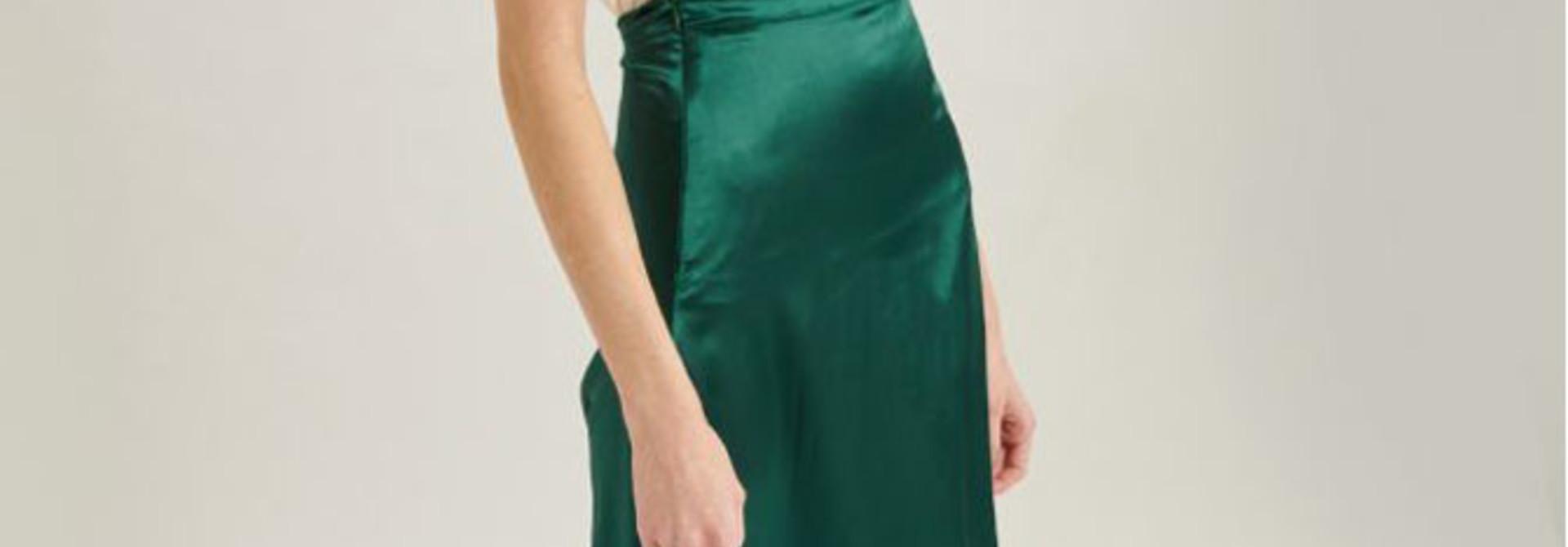 Juuna satin skirt Green
