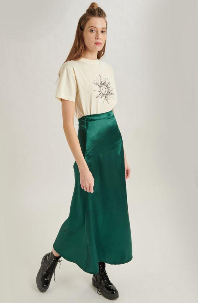 Juuna satin skirt Green-1