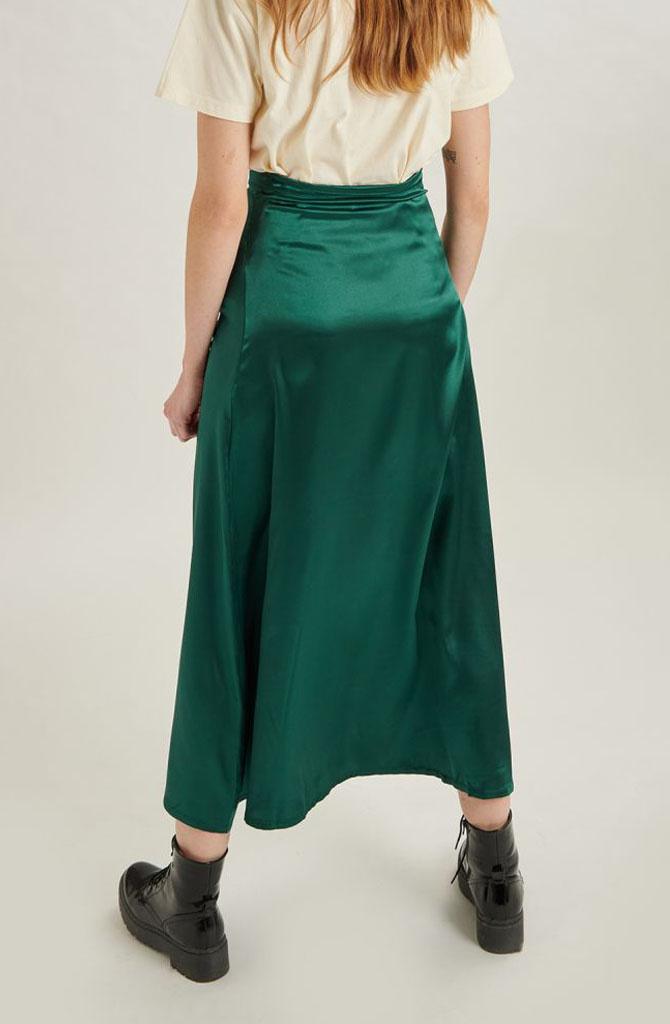 Juuna satin skirt Green-2
