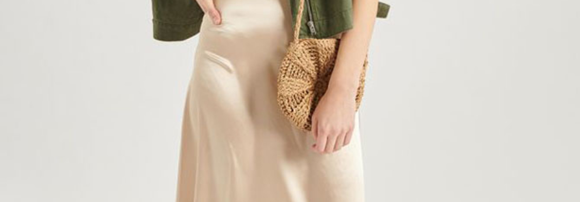 Juuna satin skirt Beige
