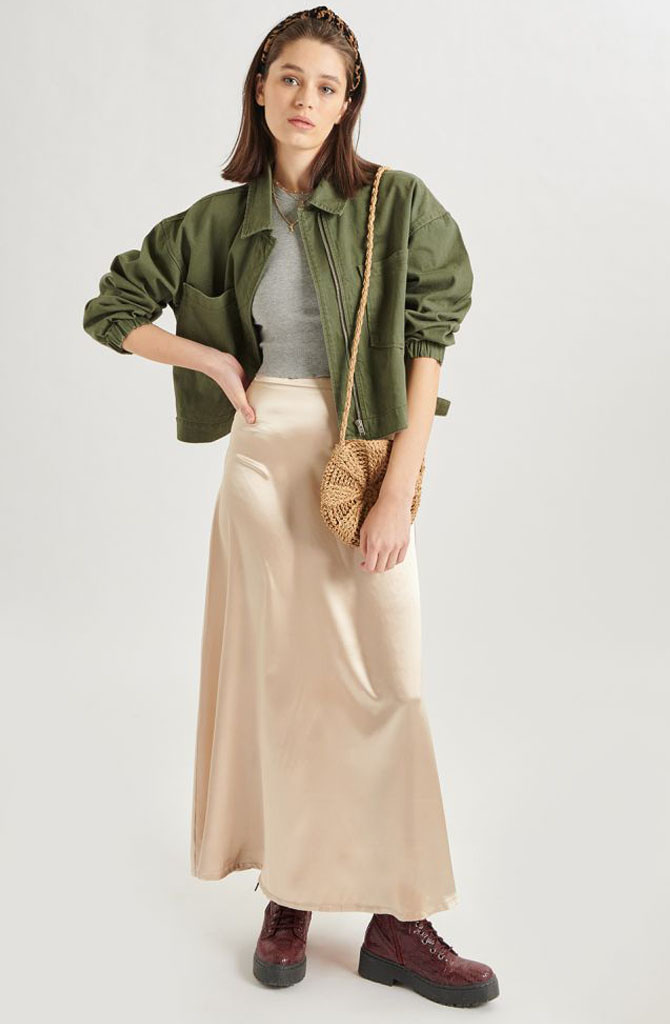 Juuna satin skirt Beige-1