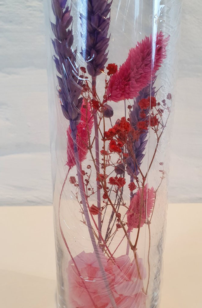 Vase dryflower arrangement 23h Fushia-2